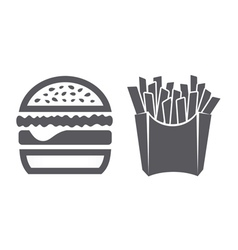 Hamburger and fries icons vector