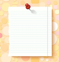 Empty exercise book paper sheet on light vector