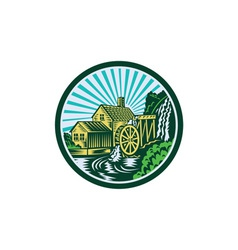 Watermill house circle retro vector