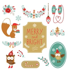 Cute collection of christmas decorative elments vector