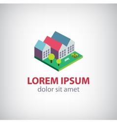 House 3d building icon logo isolated vector