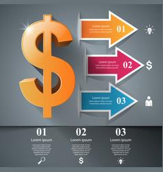 3d infographic design dollar icon vector