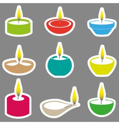 Color diwali candles with flame stickers set eps10 vector
