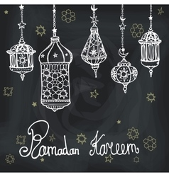 Lantern of ramadan kareemdoodle greeting card vector