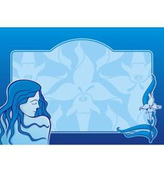 Blue spa girl horizontal vector