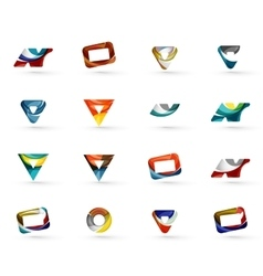 Set of various geometric icons vector