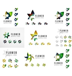 Set of company logotype branding designs flower vector
