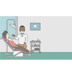 Patient and dentist vector