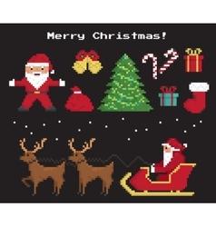 Pixel christmas symbols set vector