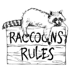Funny and touching raccoon lies on a plate vector