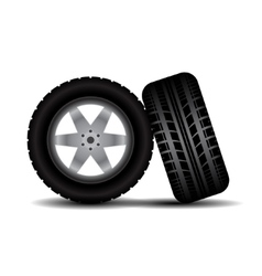 Car tires with wheels and shadow vector image