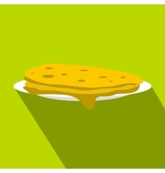 A stack of fried pancakes icon flat style vector image