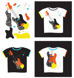 applique on t-shirt electric guitar vector image vector image