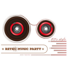 Audiocassette retro music party 80s style vector