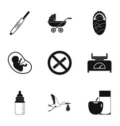 Baby ambulance icons set simple style vector