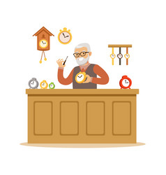 Bearded senior man repairing watches watchmaker vector