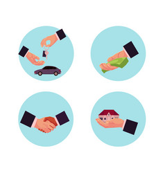 business man hands icon set vector image vector image