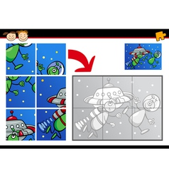 cartoon aliens jigsaw puzzle game vector image