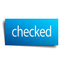 Checked blue paper sign on white background vector