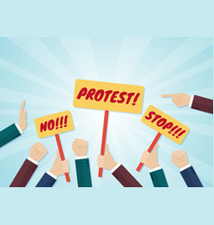 Crowd of hands holding protest signs and fists vector