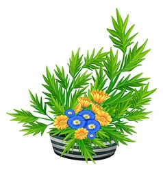 Decorated flowers in the bowl vector