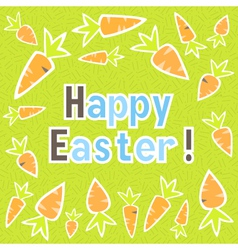 Easter carrots card on a green vector image vector image