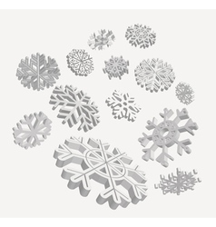 falling 3d snowflakes vector image vector image