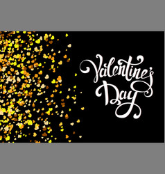 falling golden hearts on black background with vector image