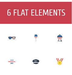 flat icons holiday barbecue spectacles and other vector image vector image