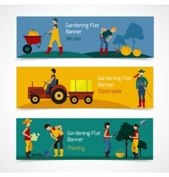 Gardening people flat banners vector