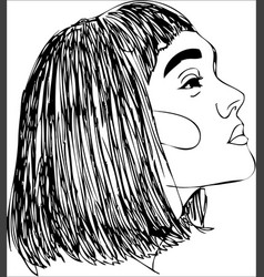 head of young woman one line design vector image
