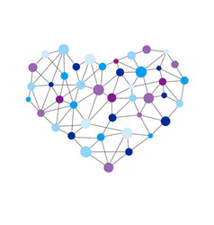 Heart shape created from lines and dots vector