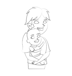 Isolated baby and brother cartoon design vector