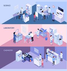 Laboratory horizontal isometric banners vector