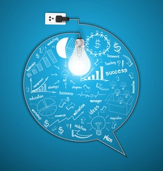 Light bulb with drawing business strategy plan vector image vector image