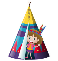 Little girl in indian teepee vector