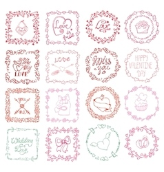 Love heart doodle brushesValentinewedding frame vector image