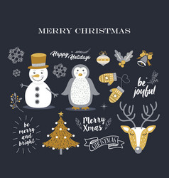 merry christmas cute decoration elements retro set vector image vector image