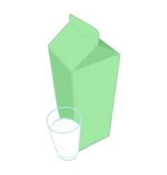 Milk carton pack and a glass of milk vector image vector image