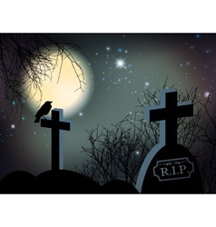 Night at graveyard vector