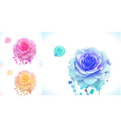 Pink orange and blue rose ar vector