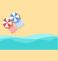 Plan of beach summer background with umbrella vector