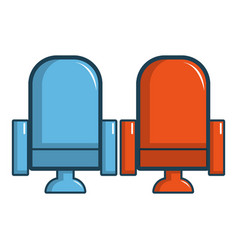 Red and blue cinema armchairs icon cartoon style vector