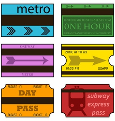 Retro subway tickets vector