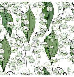 seamless season pattern with white convallaria vector image vector image