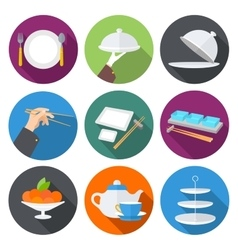 Set flat design icons for restaurant vector image