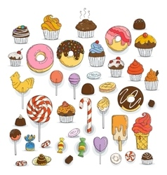 Set of Candy and Muffins Icons Cakes Sweets vector image
