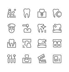set of dental related line icons vector image