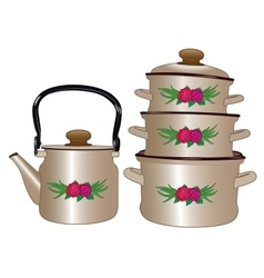 Set of new pots and kettle vector image
