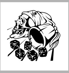 Skull and playing dice vector